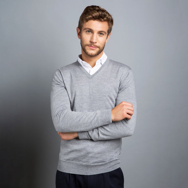 Extra Fine V-Neck in Light Grey, Made from Cashwool Merino wool sourced from the finest Australian sheep – FILOFINO Luxury Italian Knitwear