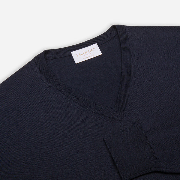 Extra Fine Merino Wool V-Neck in Navy, detail of collar and sleeve – FILOFINO Luxury Italian Knitwear