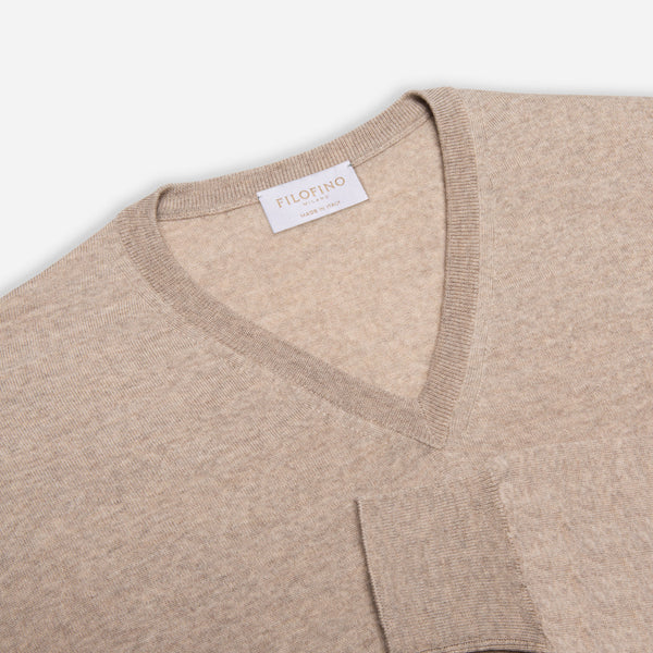 Extra Fine Merino Wool V-Neck in Oatmeal, detail of collar and sleeve – FILOFINO Luxury Italian Knitwear