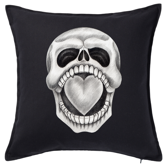 All Heart Skull Feather Cushion