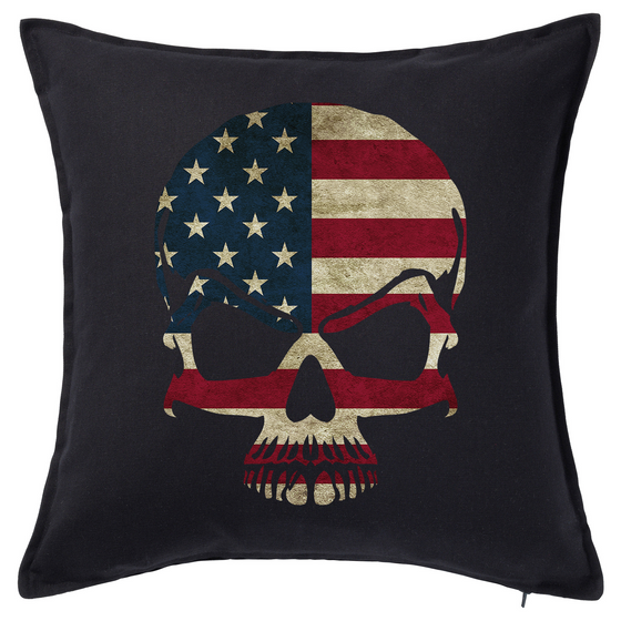 American Flag Skull Feather Cushion