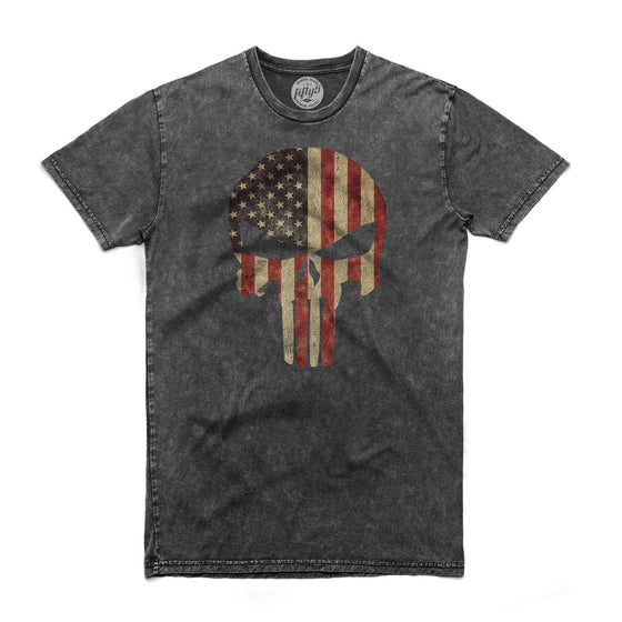 American Flag Punisher Skull Men's Stone Wash T Shirt