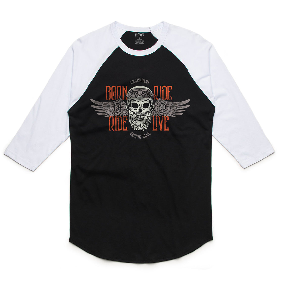 Fifty5 Clothing Born To Ride Legendary Racing Mens Raglan Baseball Tee
