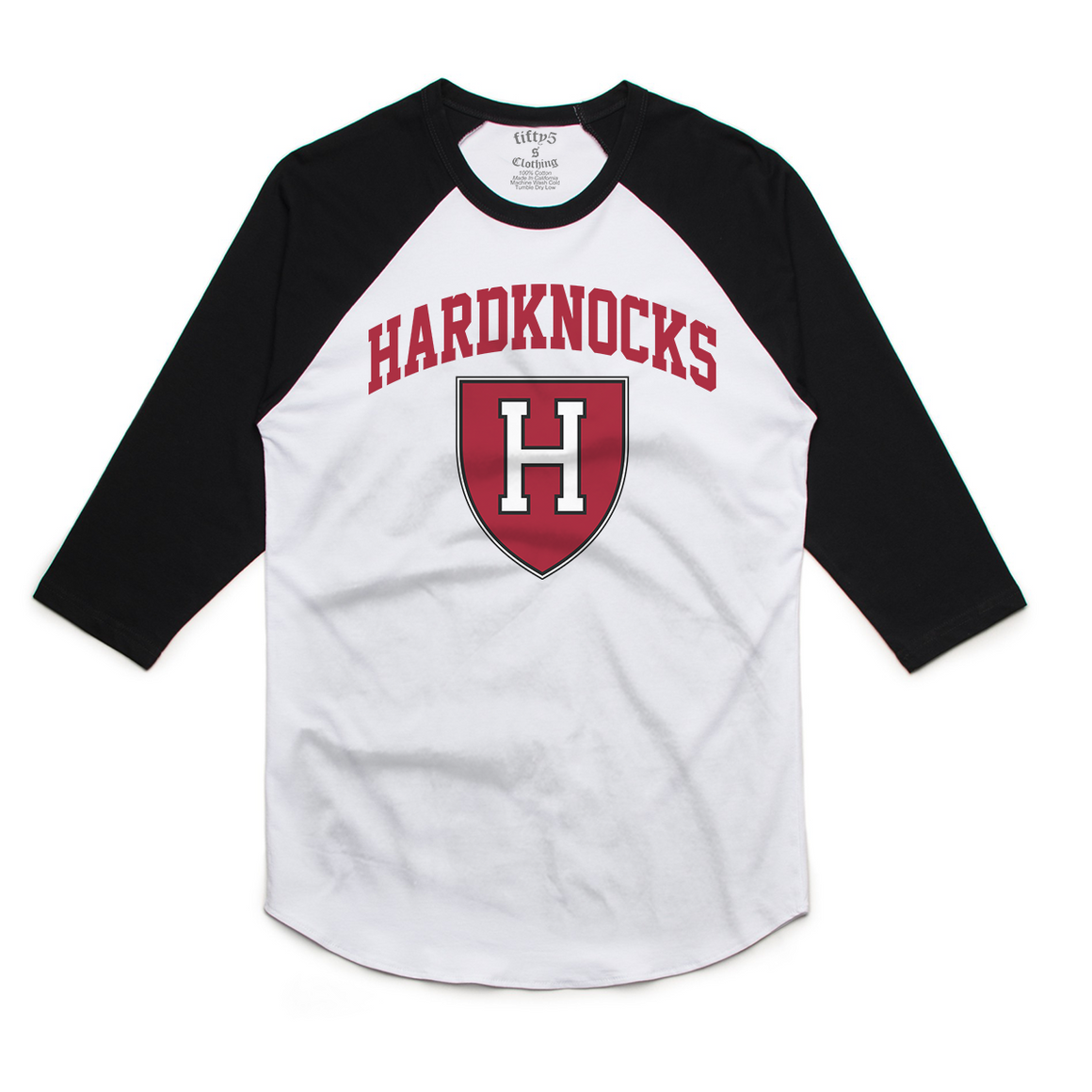 Fifty5 Clothing Hardknocks University Mens Raglan Baseball Tee