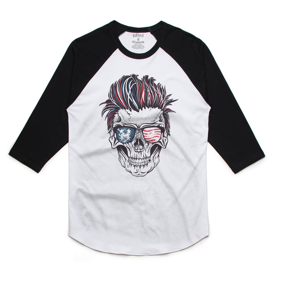 Fifty5 Clothing Patriotic Rocker Skull Mens Raglan Baseball Tee