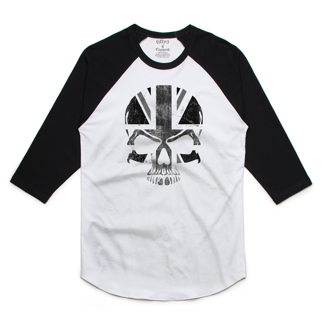 Fifty5 Clothing Union Jack Skull Mens Raglan Baseball Tee
