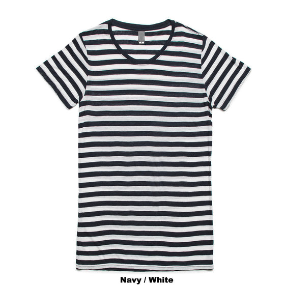 Fifty5 Luxe Women's Fine Linen Blend Short Sleeve Stripe T-Shirt