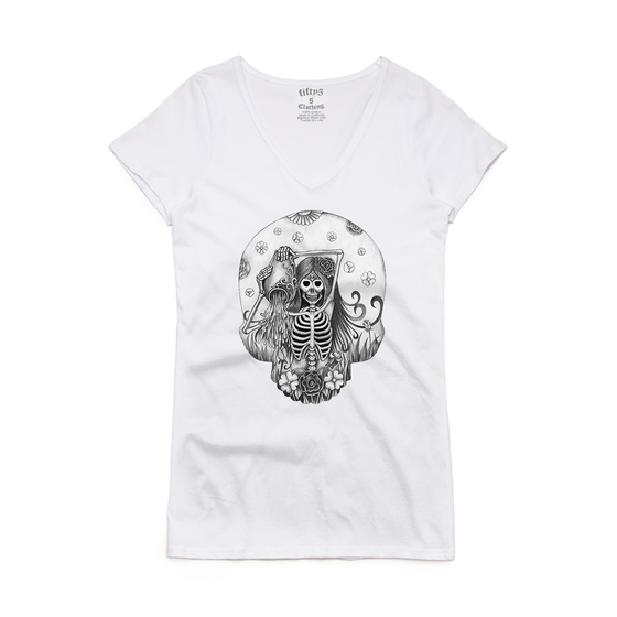 Aquarius Skull Women's Bevel V Neck T-Shirt