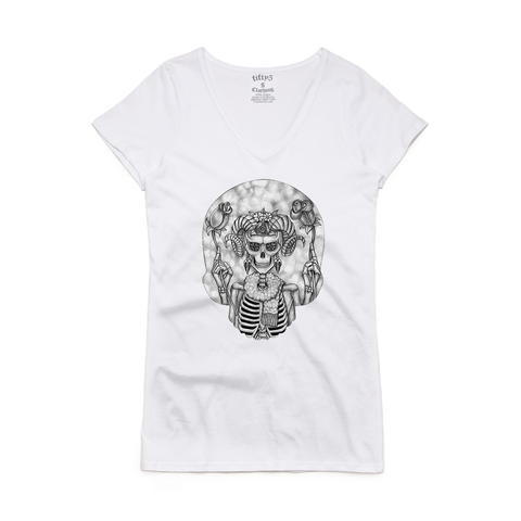 Aries Skull Women's Bevel V Neck T-Shirt