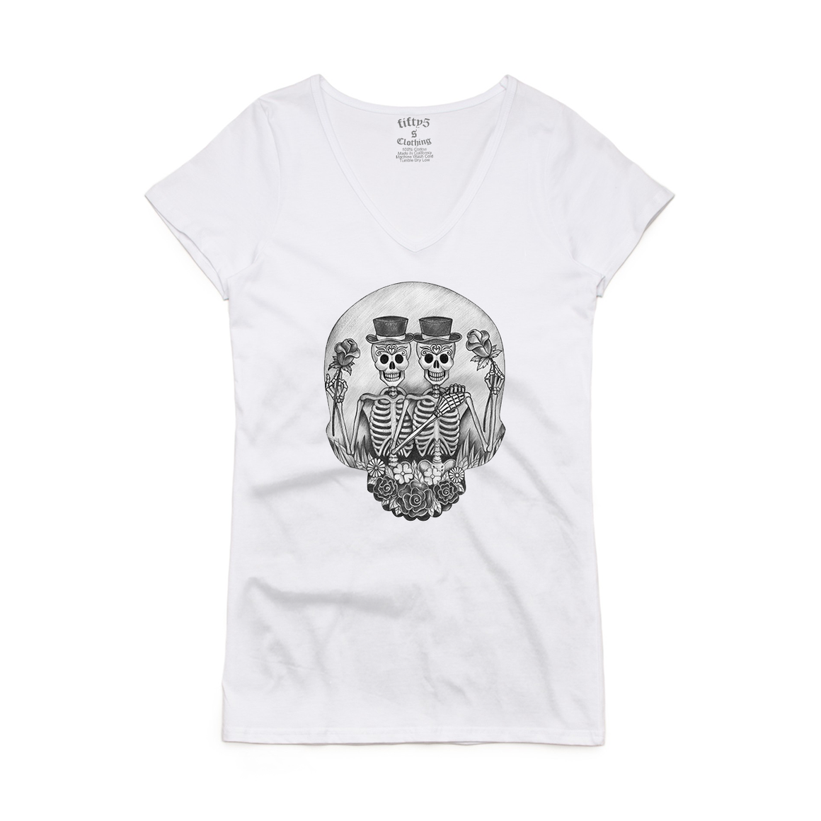 Gemini Skull Women's Bevel V Neck T-Shirt