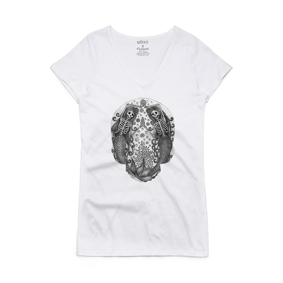 Pisces Skull Women's Bevel V Neck T-Shirt