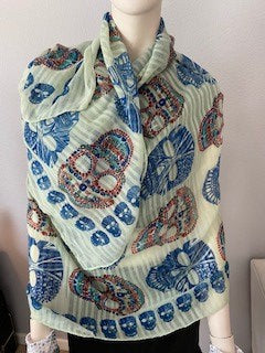 Women's Multi-Color Sugar Skulls Scarf, Pashmina, Neck/head Wrap, Shawl.