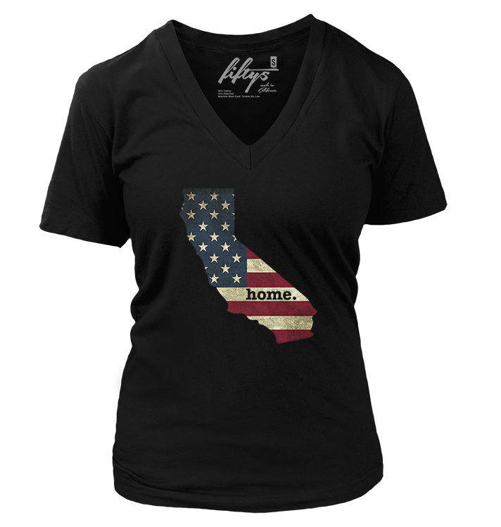 California Home Women's Deep V Neck T Shirt