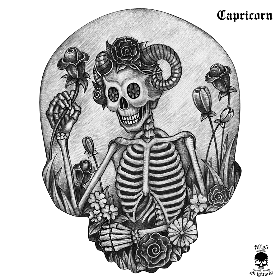 Capricorn Skull Women's Bevel V Neck T-Shirt