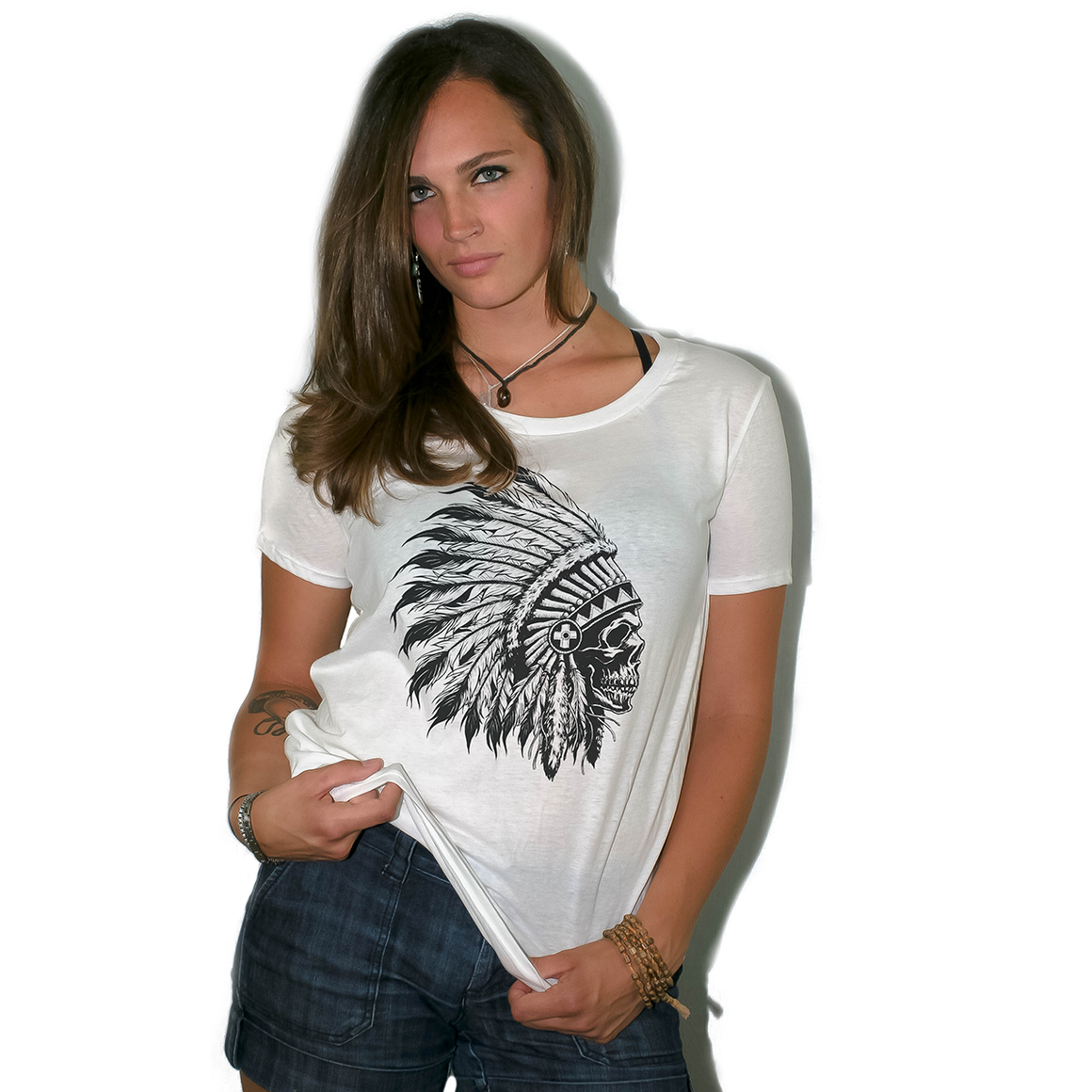 Chief Skull Women's Loose Fit Boyfriend T Shirt