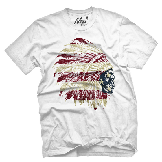 American Flag Chief Skull Men's T Shirt