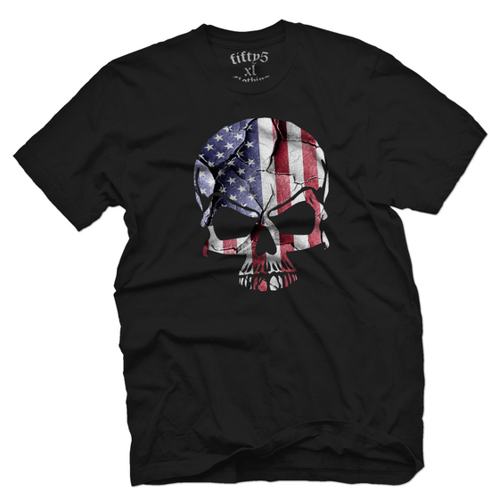Cracked American Flag Skull Men's T Shirt