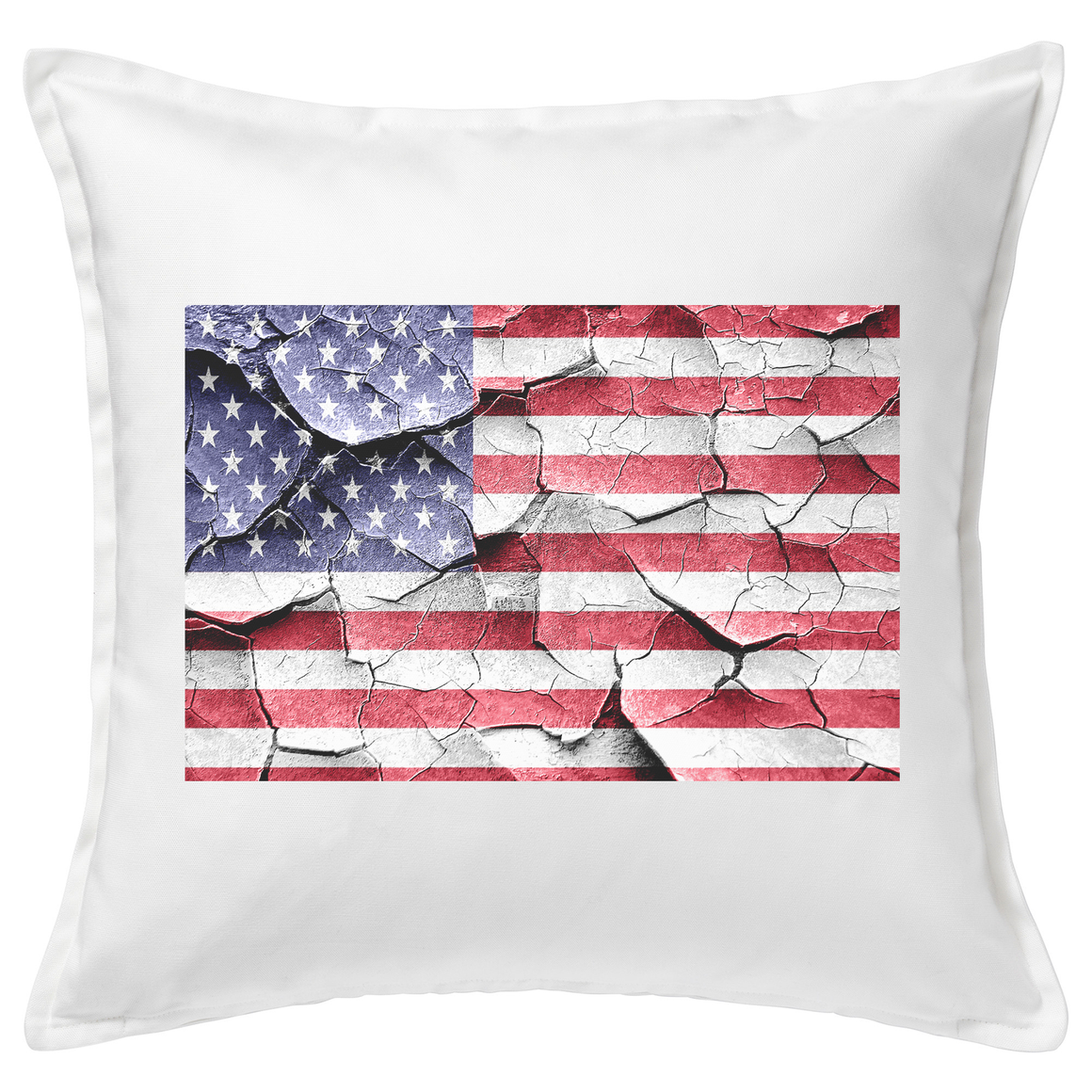 Cracked American Flag Feather Cushion
