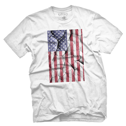 Cracked American Flag Men's T Shirt