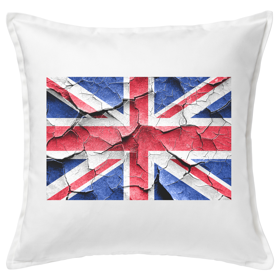 Cracked Union Jack Flag Feather Cushion