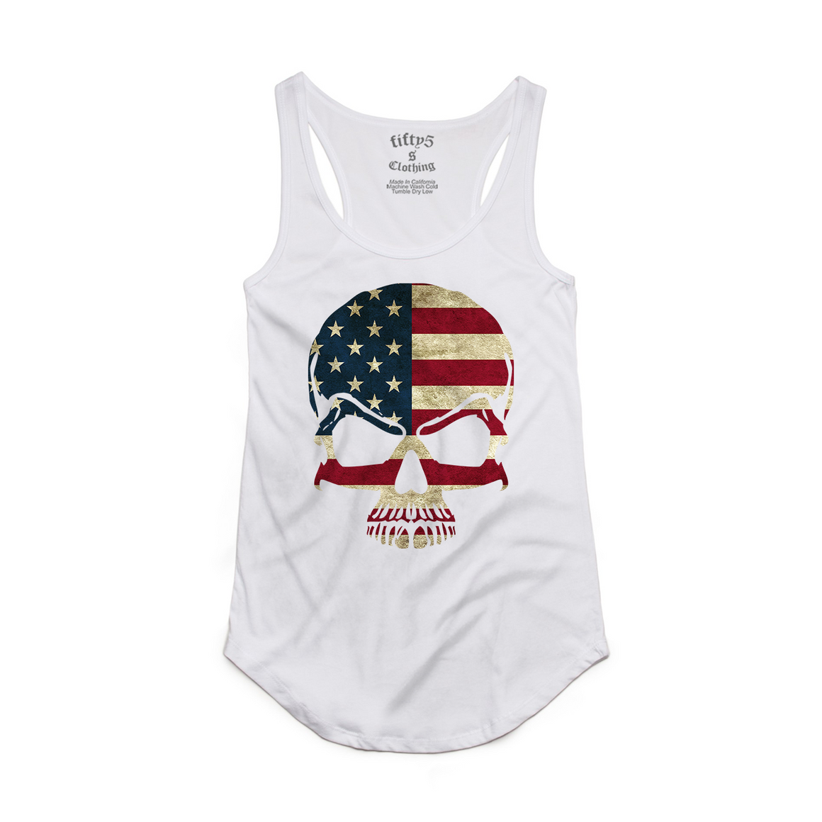 Fifty5 American Flag Skull Luxe Women's Dash Panel Detail Racerback Tank Top