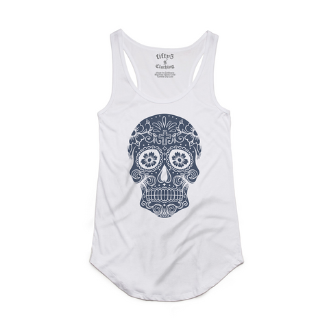Fifty5 Denim Sugar Skull Luxe Women's Dash Panel Detail Racerback Tank Top