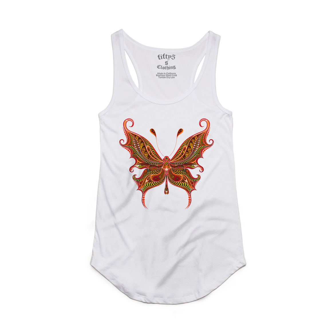 Fifty5 Fire Butterfly Women's Luxe Panel Detail Racerback Tank Top