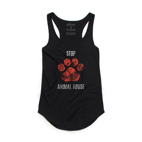 Fifty5 Stop Animal Abuse Women's Luxe Panel Detail Racerback Tank Top