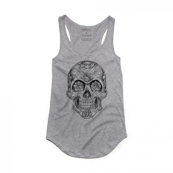 Fifty5 Sugar Skull Luxe Women's Dash Panel Detail Racerback Tank Top