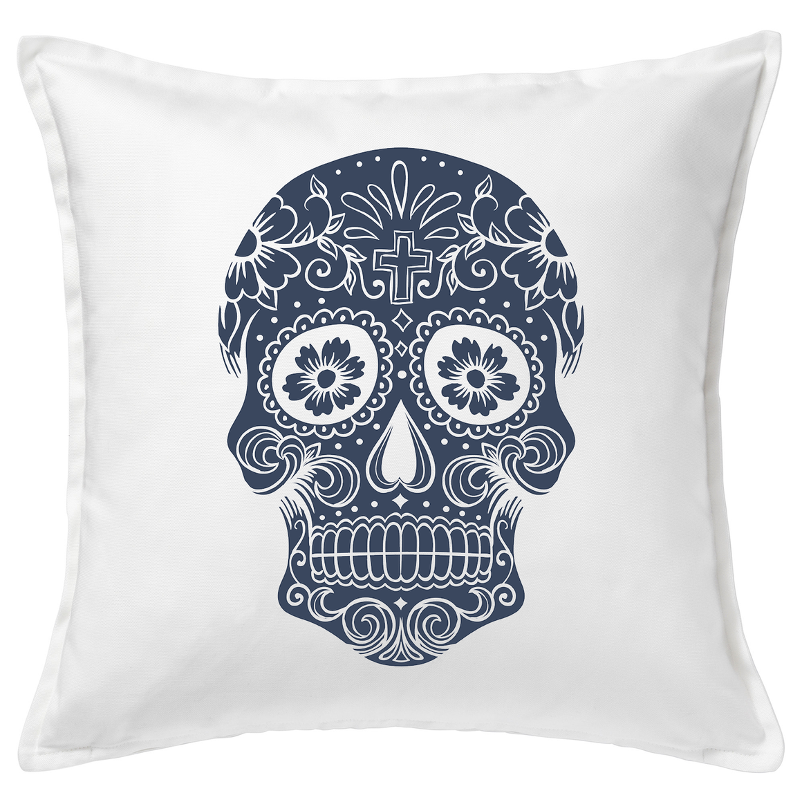 Denim Sugar Skull Cushion Cover