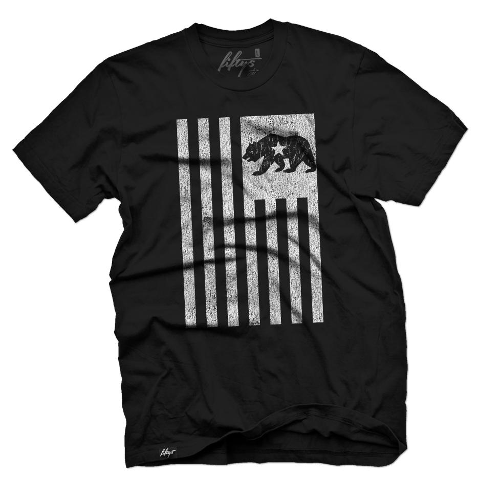 Distressed California Bear Flag Men's T Shirt