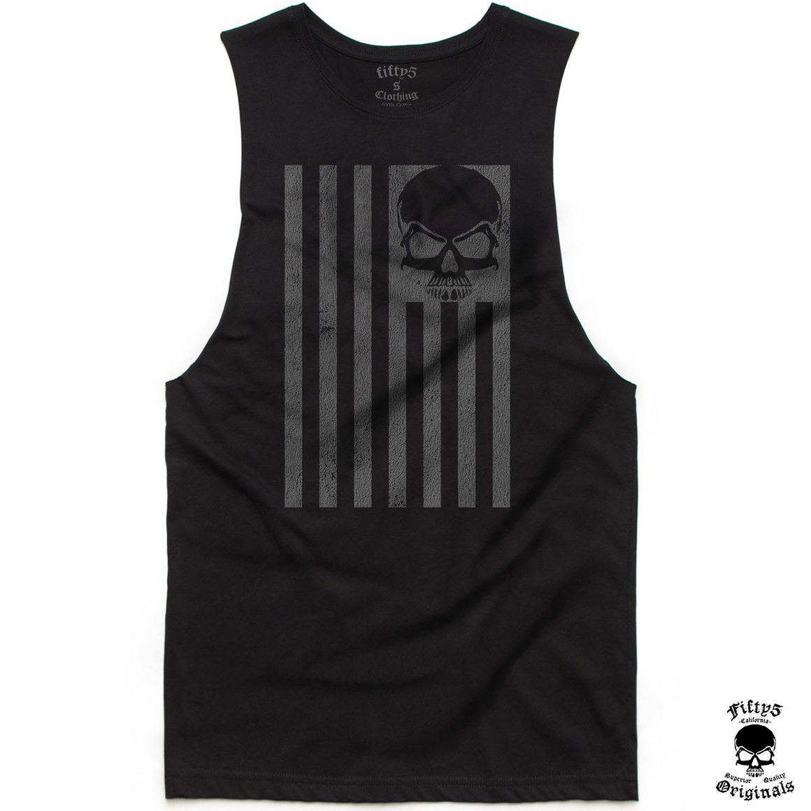 Distressed Skull Flag Mens Muscle Tank