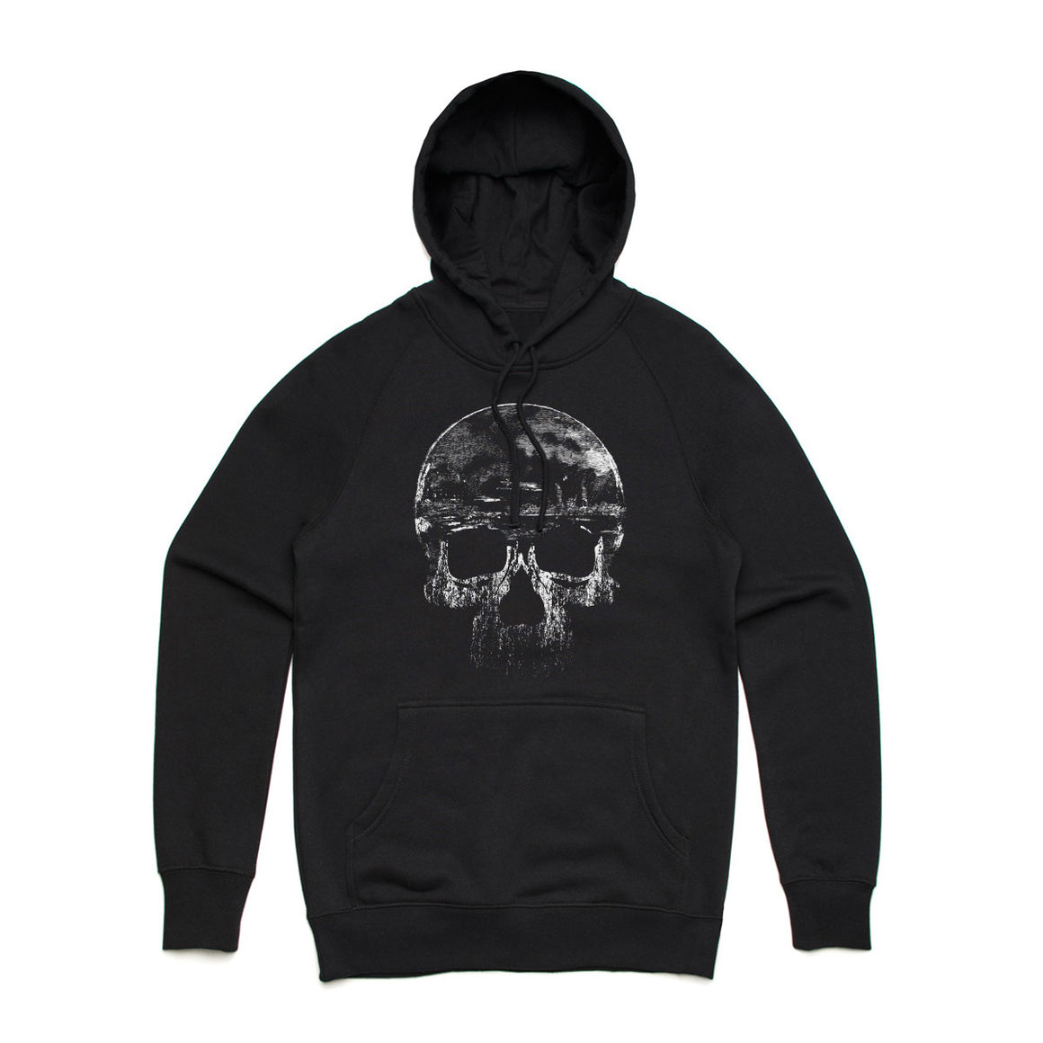 Fifty5 Clothing Distressed Skull Pullover Hoodie