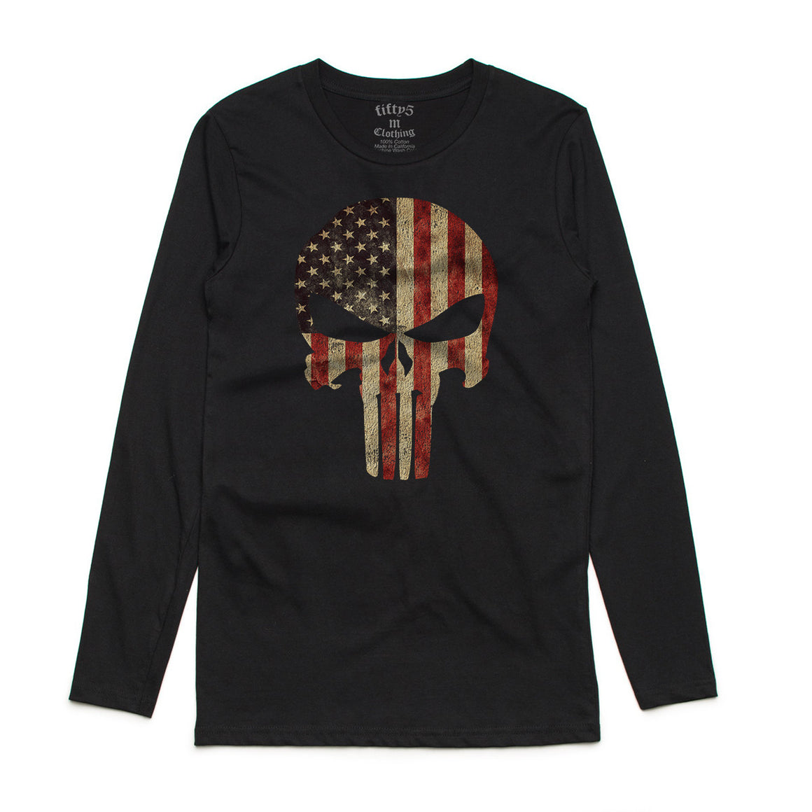 American Flag Punisher Skull Mens Long Sleeve T-Shirt