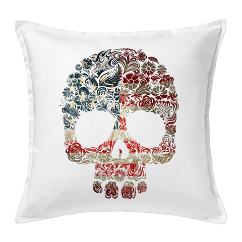 Floral Flag Skull Cushion Cover