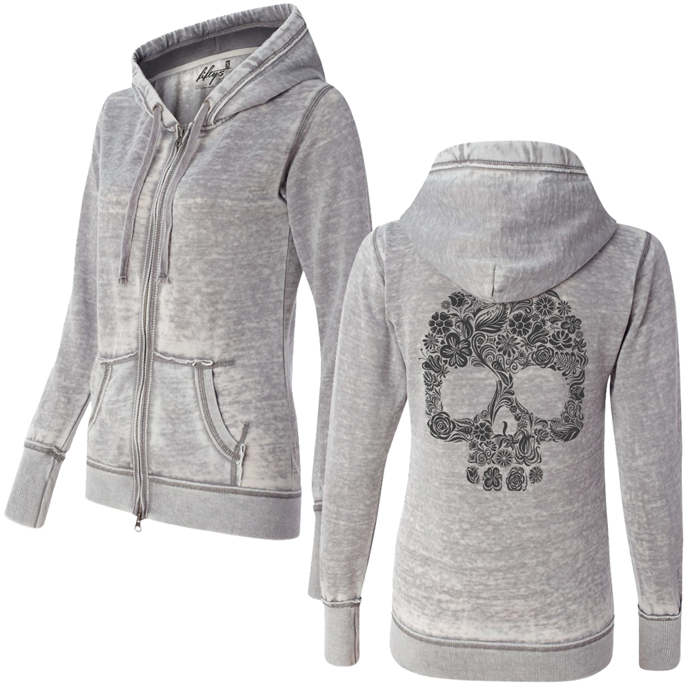 Women's Floral Skull Sketch Super Soft Burnout Zip Up Hoodie