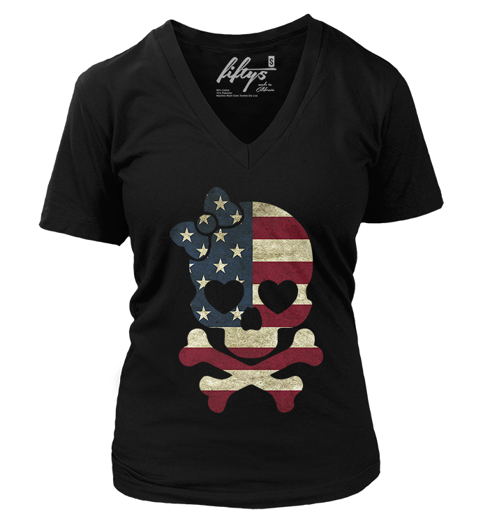 Girl US Flag Skull Vintage Women's T Shirt