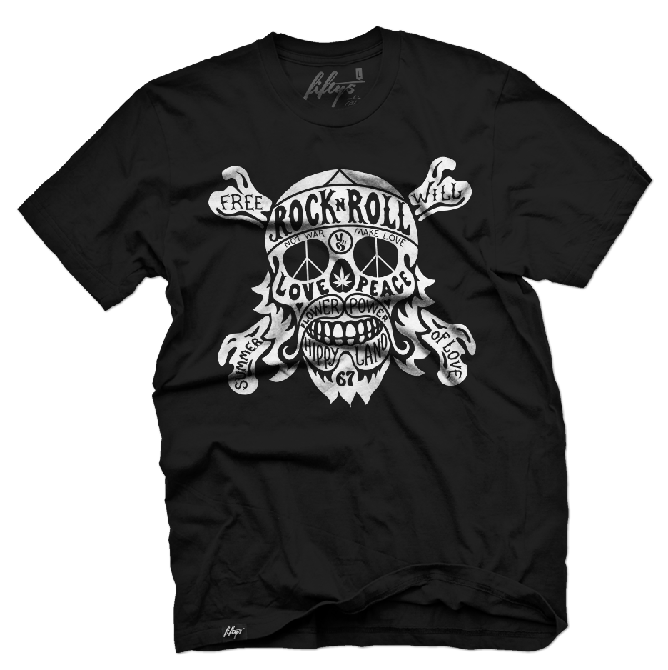 Hippie Rock N Roll Skull Men's T Shirt