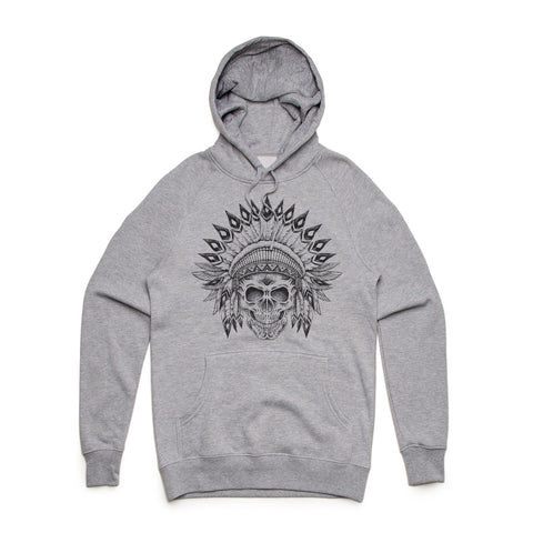Fifty5 Indian Chief Skull Mid Weight Pullover Hoodie