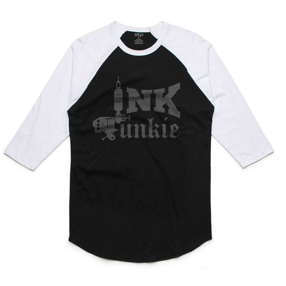 Fifty5 Clothing Ink Junkie Mens Raglan Baseball Tee