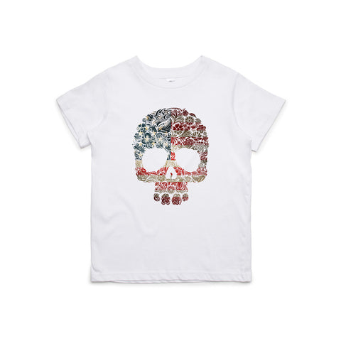 Floral Flag Skull Kids T-Shirt