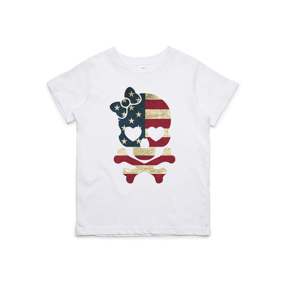 Girl Flag Skull Kids T-Shirt