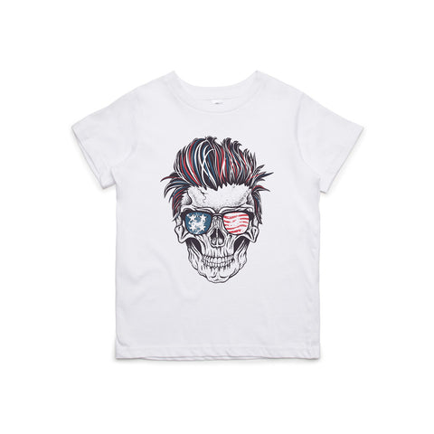 Patriotic Rocker Skull Kids T-Shirt