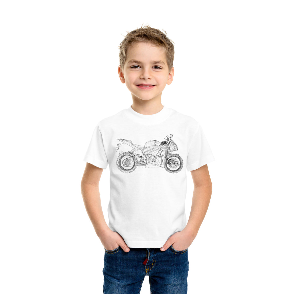 Wireframe Motorcycle Kids T-Shirt