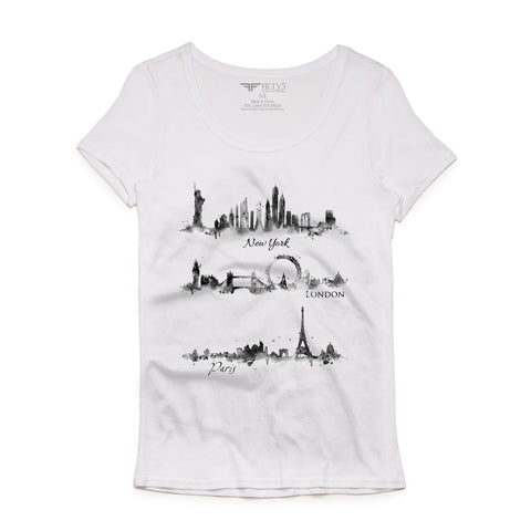 Fifty5 Clothing Watercolor New York London Paris Women's Luxe T Shirt