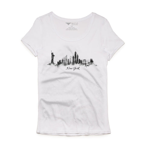 Fifty5 Clothing Watercolor New York State of Mind Women's Luxe T Shirt