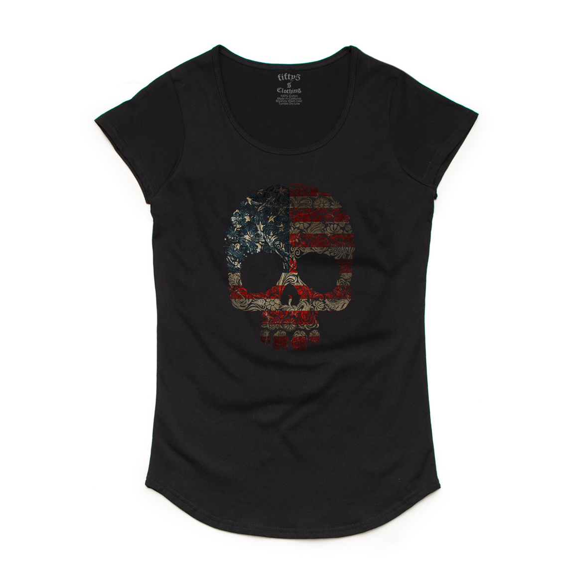 Floral Flag Skull Women's Mali Scoop Neck T-Shirt