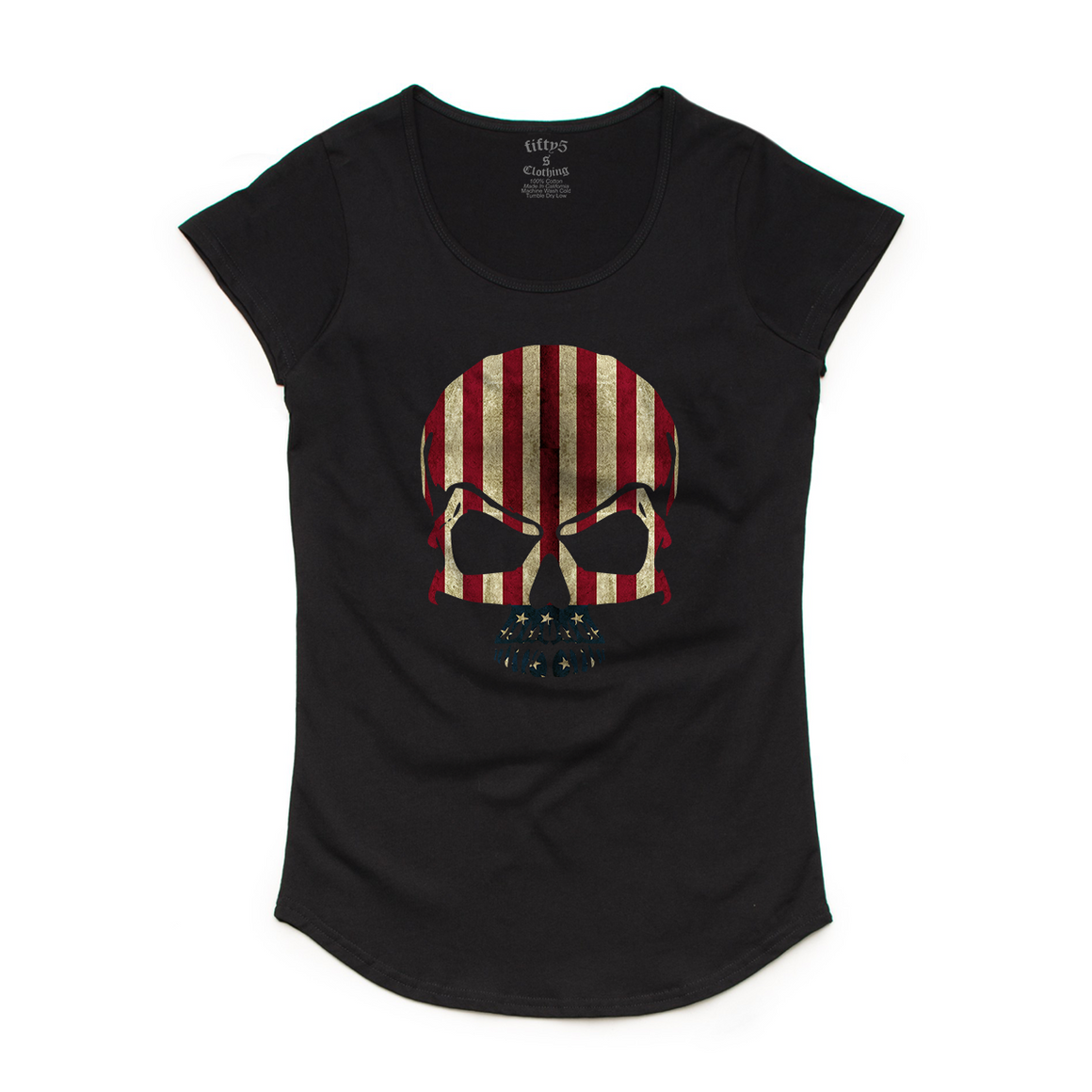 Stars & Stripes Flag Skull Women's Mali Scoop Neck T-Shirt