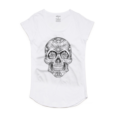 Sugar Skull Sketch Women's Mali Scoop Neck T-Shirt