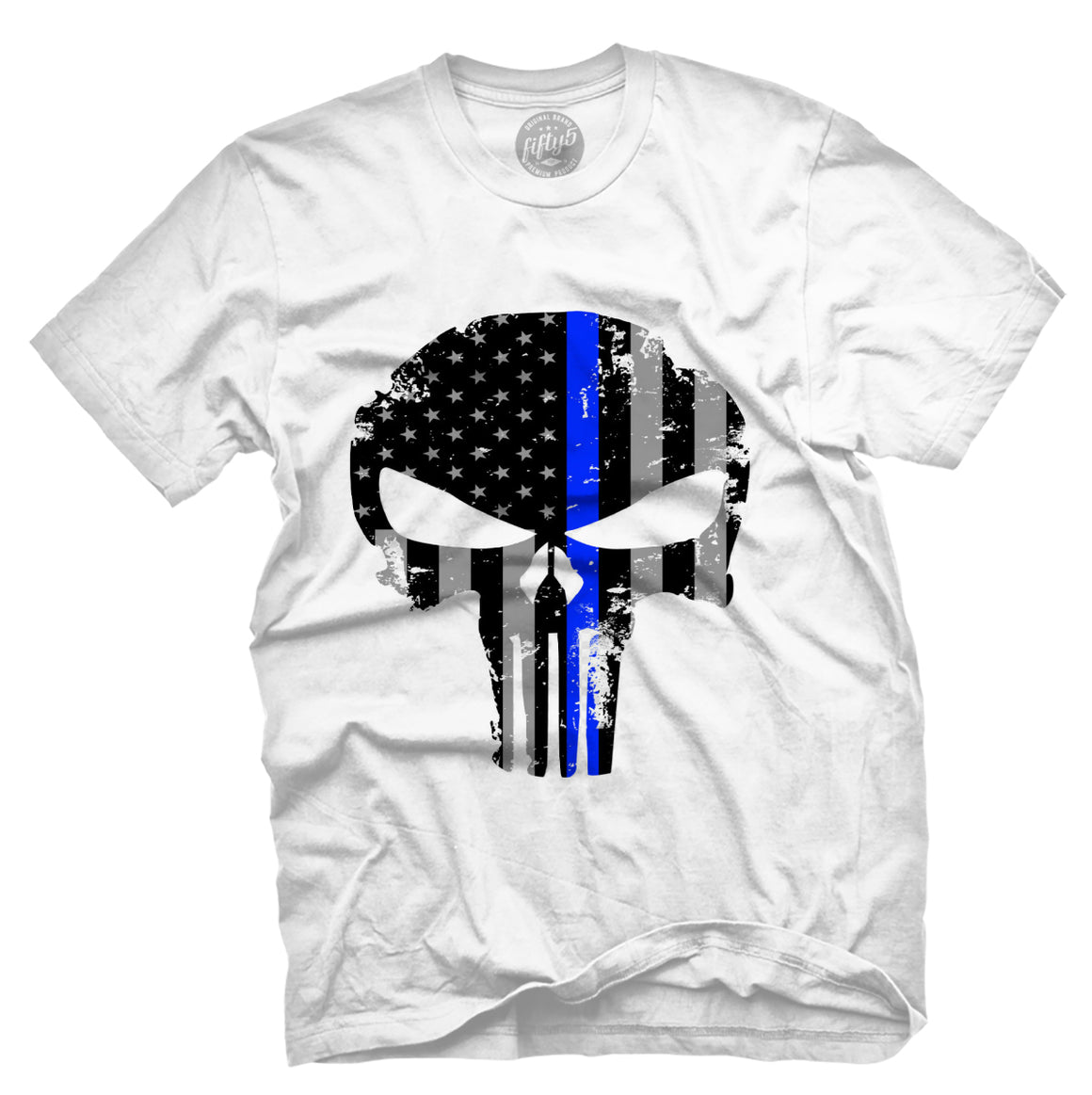 Thin Blue Line Punisher Skull T Shirt